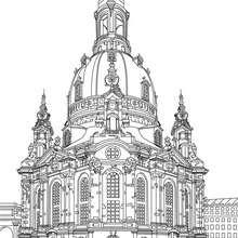 IGLESIA FRAUENKIRCHE en Dresde para colorear - Dibujos para Colorear y Pintar - Dibujos para colorear los PAISES - ALEMANIA para colorear - MONUMENTOS DE ALEMANIA para colorear
