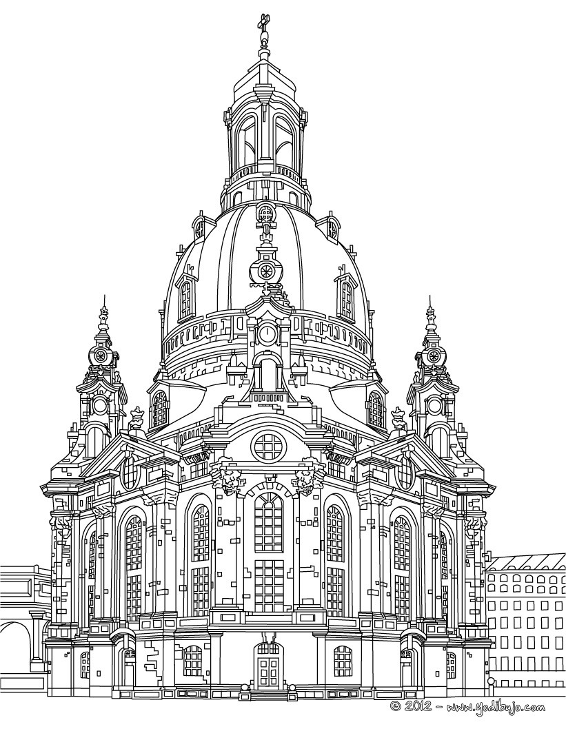 dibujos para colorear iglesia frauenkirche en dresde. Black Bedroom Furniture Sets. Home Design Ideas