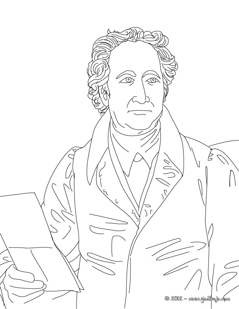 dibujos para colorear escritor aleman johann wolfgang von