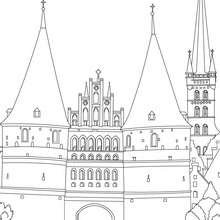 PUERTA DE HOLSTEIN en Lubeck para colorear - Dibujos para Colorear y Pintar - Dibujos para colorear los PAISES - ALEMANIA para colorear - MONUMENTOS DE ALEMANIA para colorear