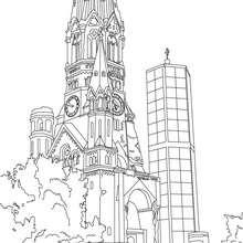 IGLESIA KAISER GUILLERMO en Berlin para colorear - Dibujos para Colorear y Pintar - Dibujos para colorear los PAISES - ALEMANIA para colorear - MONUMENTOS DE ALEMANIA para colorear