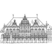 AYUNTAMIENTO de Bremen (Rathaus) para colorear - Dibujos para Colorear y Pintar - Dibujos para colorear los PAISES - ALEMANIA para colorear - MONUMENTOS DE ALEMANIA para colorear