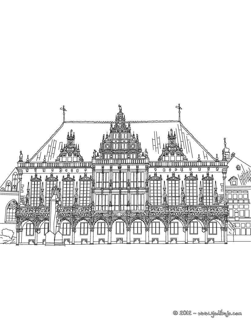 dibujos para colorear ayuntamiento de bremen rathaus. Black Bedroom Furniture Sets. Home Design Ideas