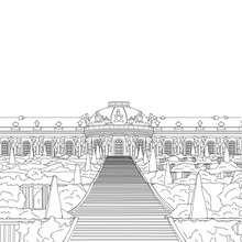 PALACIO DE SANSSOUCI en Postdam para colorear - Dibujos para Colorear y Pintar - Dibujos para colorear los PAISES - ALEMANIA para colorear - MONUMENTOS DE ALEMANIA para colorear