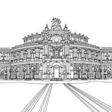 TEATRO DE LA OPERA de Dresden para colorear - Dibujos para Colorear y Pintar - Dibujos para colorear los PAISES - ALEMANIA para colorear - MONUMENTOS DE ALEMANIA para colorear