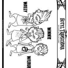 Dibujo de WINNIE, WILBUR y WALLY de Hotel Transilvania para colorear - Dibujos para Colorear y Pintar - Dibujos de PELICULAS colorear - Dibujos de HOTEL TRANSILVANIA para colorear