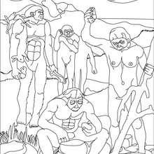 Dibujo de un grupo de AUSTRALOPITECOS - Dibujos para Colorear y Pintar - Dibujos para colorear HISTORIA - PREHISTORIA dibujos para colorear