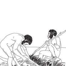 Dibujo de HOMO HABILIS trabajando - Dibujos para Colorear y Pintar - Dibujos para colorear HISTORIA - PREHISTORIA dibujos para colorear