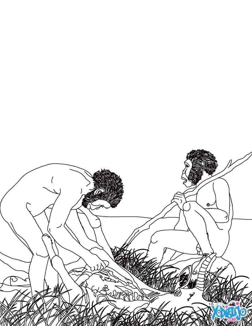 Dibujos Para Colorear Hombre Prehistorico Haciendo Fuego Con Pírita