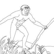 Dibujo de HOMO HABILIS con una lanza - Dibujos para Colorear y Pintar - Dibujos para colorear HISTORIA - PREHISTORIA dibujos para colorear