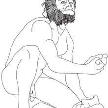 Dibujo de HOMO HABILIS tallando una piedra - Dibujos para Colorear y Pintar - Dibujos para colorear HISTORIA - PREHISTORIA dibujos para colorear