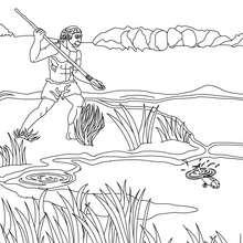Dibujo de HOMO ERECTUS pescando - Dibujos para Colorear y Pintar - Dibujos para colorear HISTORIA - PREHISTORIA dibujos para colorear