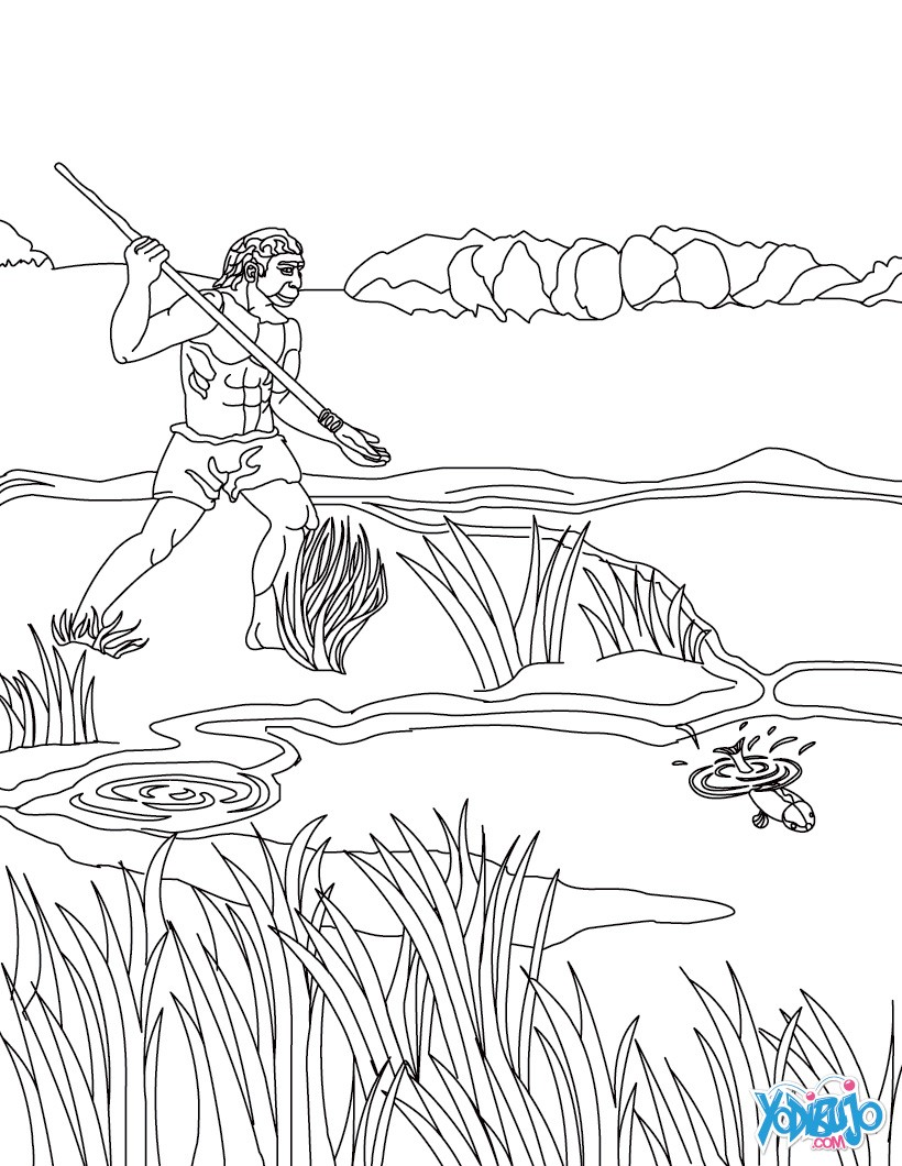 Dibujos para colorear hombre prehistorico haciendo fuego con