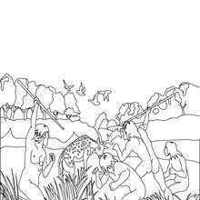 Dibujo de un grupo de HOMO ERECTUS cazando - Dibujos para Colorear y Pintar - Dibujos para colorear HISTORIA - PREHISTORIA dibujos para colorear