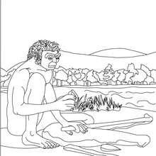 Dibujo de HOMO ERECTUS fabricando herramientas - Dibujos para Colorear y Pintar - Dibujos para colorear HISTORIA - PREHISTORIA dibujos para colorear