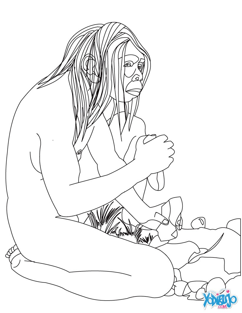 Dibujo para colorear : HOMBRE PREHISTORICO haciendo fuego con pírita y silex