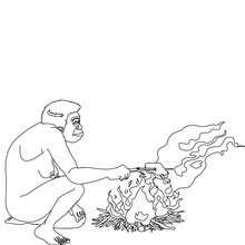 Dibujo de HOMO ERECTUS cocinando - Dibujos para Colorear y Pintar - Dibujos para colorear HISTORIA - PREHISTORIA dibujos para colorear