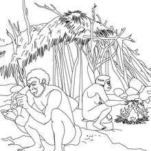 Dibujo de HOMBRES PREHISTORICOS trabajando - Dibujos para Colorear y Pintar - Dibujos para colorear HISTORIA - PREHISTORIA dibujos para colorear