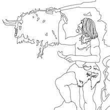 un HOMBRE PREHISTORICO pintando en la pared de una gruta