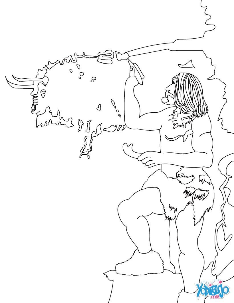 Dibujos para colorear homo sapiens cazandoo el mamút - es.hellokids.com