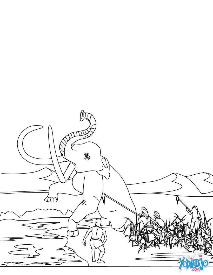 Dibujo para colorear : HOMO SAPIENS cazandoo el mamút