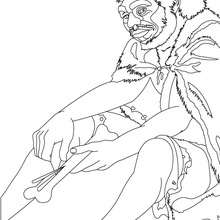 Dibujo de un HOMO SAPIENS fabricando una aguja tallando un hueso - Dibujos para Colorear y Pintar - Dibujos para colorear HISTORIA - PREHISTORIA dibujos para colorear
