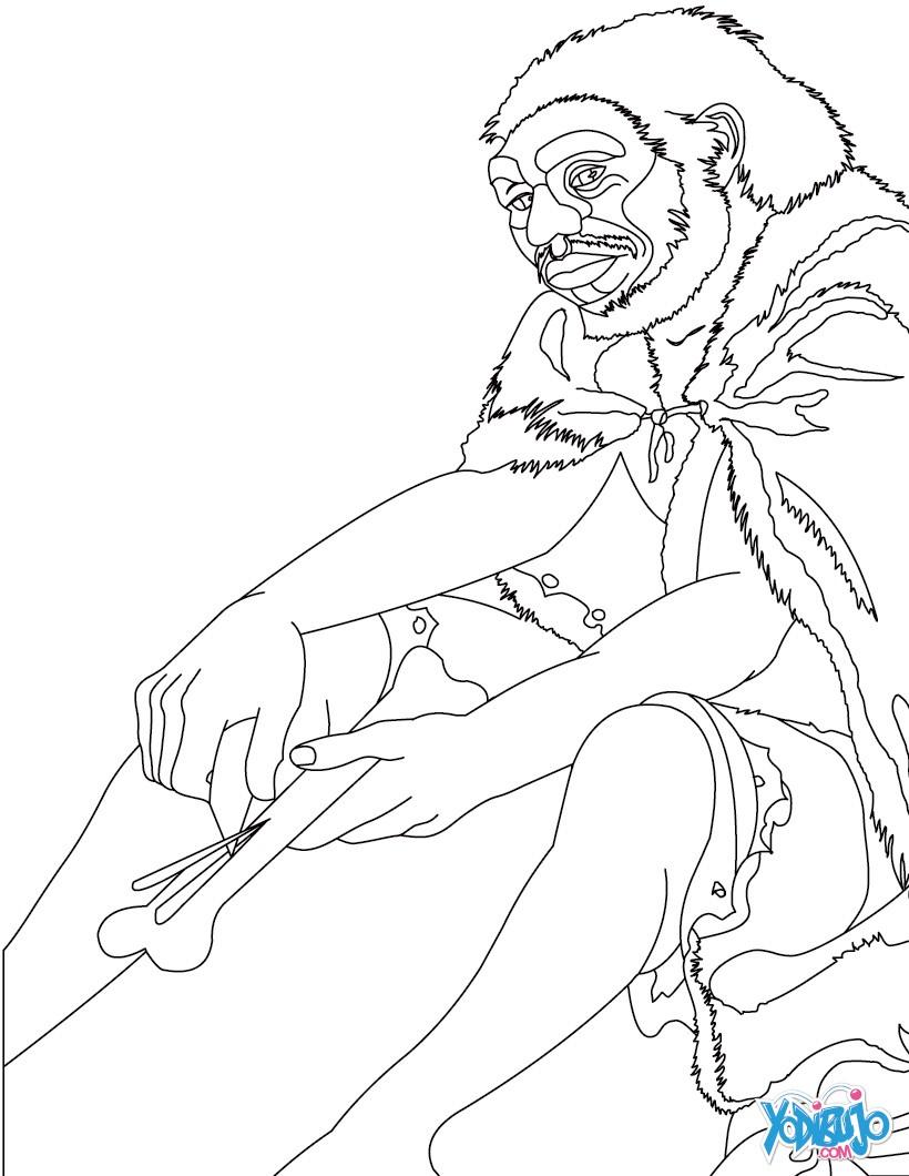 Dibujos para colorear un homo sapiens fabricando una aguja for Dibujo de una piedra para colorear