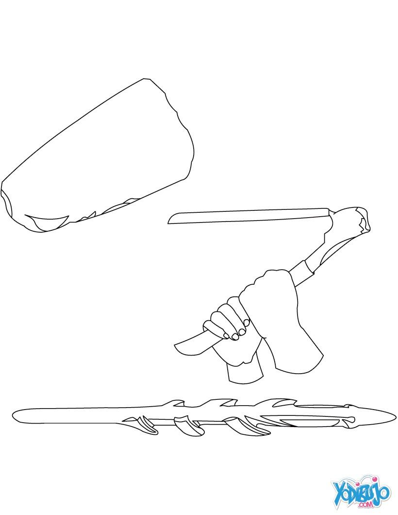 Dibujo para colorear : HERRAMIENTAS Y ARMAS  de los HOMO SAPIENS