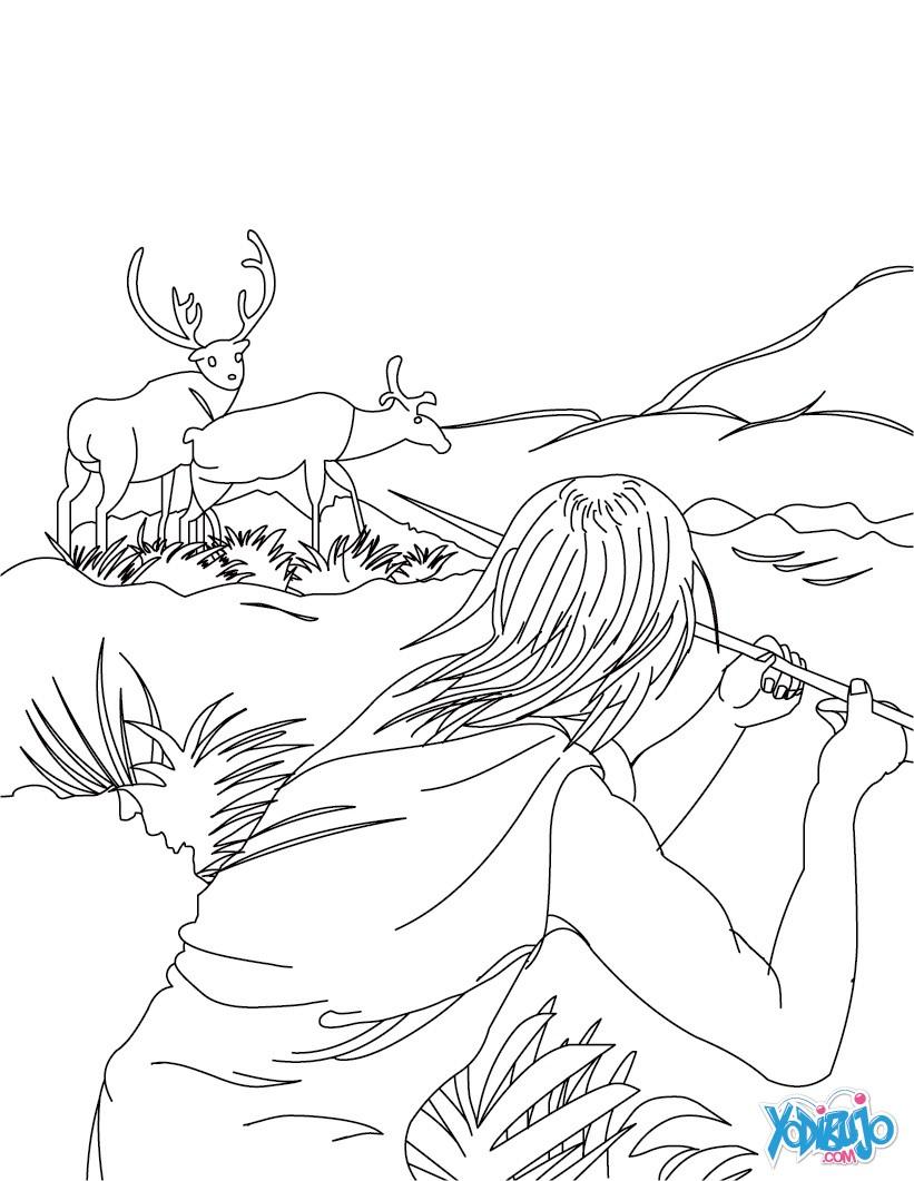 Dibujos para colorear escena de caza por un homo sapiens  es