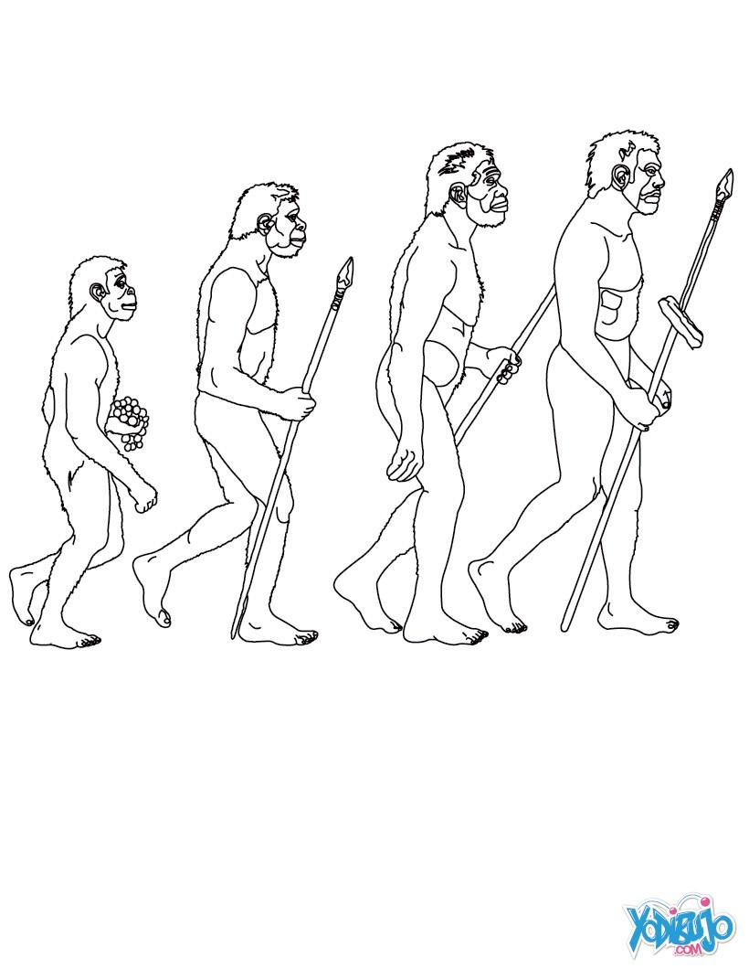 Dibujos para colorear homo habilis con una lanza  eshellokidscom