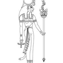Dibujo para colorear : Dios SEKHMET del Antiguo Egipto