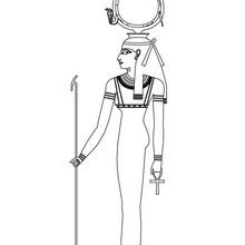 Diibujo de HATHOR para pintar online - Dibujos para Colorear y Pintar - Dibujos para colorear los PAISES - EGIPTO para colorear - DIOSES EGIPCIOS para colorear