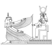Dibujo para colorear : DEIDADES MAAT E ISIS  Egipto