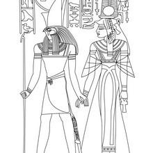 Dibujo para colorear : Dioses egipcios NEFERTITI y HORUS