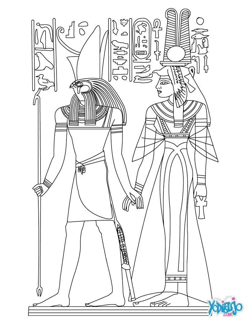 Dibujos para colorear dioses egipcios nefertiti y horus for Egypt coloring page