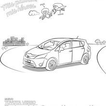 Dibujo para colorear : Coche Toyota Verso de perfil