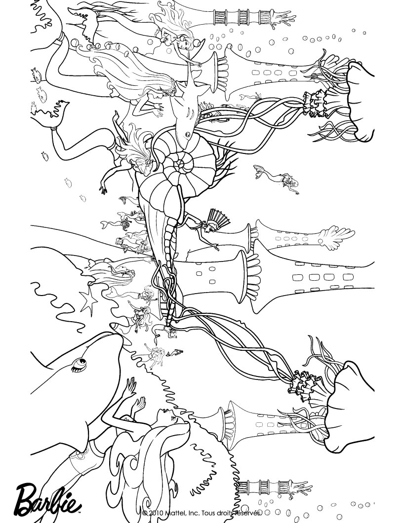 dibujo para colorear reino submarino de las sirenas