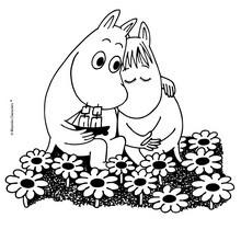 Dibujo de MOOMIN enamorados para colorear y pintar - Dibujos para Colorear y Pintar - Dibujos para colorear PERSONAJES - PERSONAJES COMIC para colorear - Dibujos para colorear MOOMIN