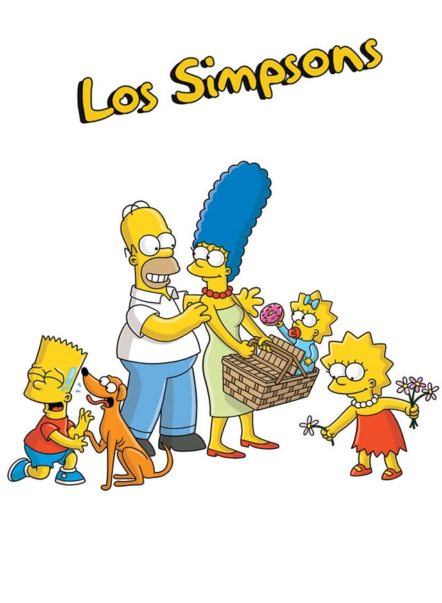Dibujo de HOMER, MARGE SIMPSON con sus 3 hijos