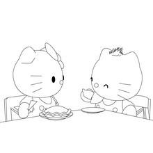 Dibujo para colorear : Comida con Kitty
