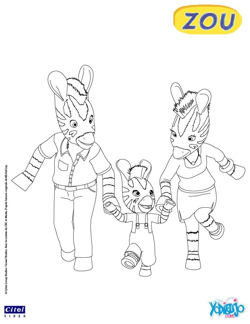 Dibujo para colorear : FAMILIA DE ZOU LA CEBRA
