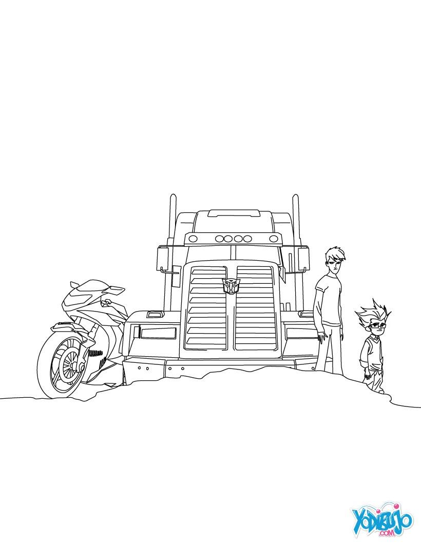 Dibujos para colorear optimus prime modo camión - es.hellokids.com