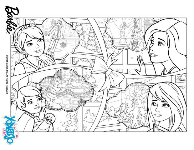 Dibujos para colorear barbie chelsea skipper y stacie for Barbie christmas coloring pages