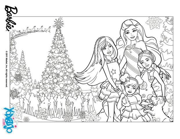 Dibujos De Barbie De Navidad.Dibujos Para Colorear Barbie Con Sus Hermanas Es Hellokids Com
