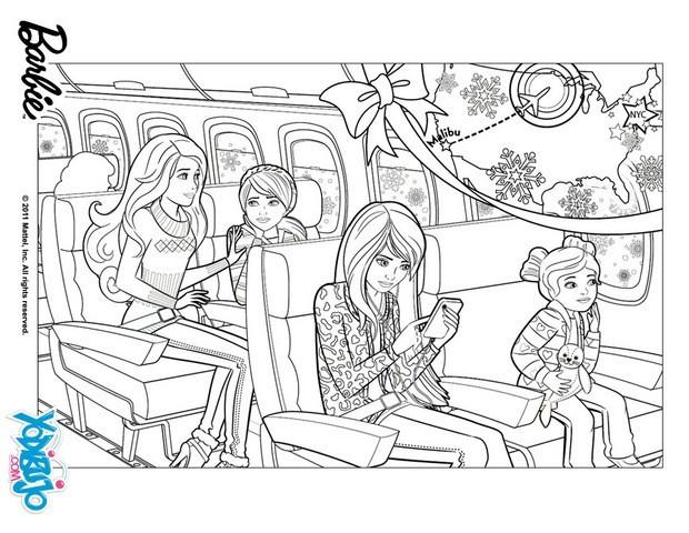 Dibujos para colorear barbie en el avión - es.hellokids.com