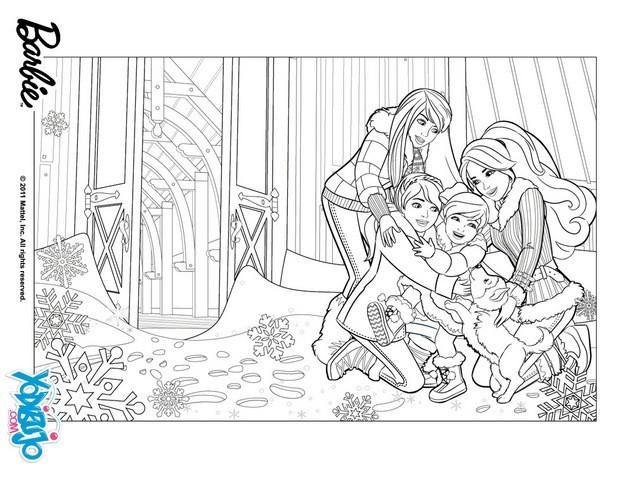 Dibujos para colorear barbie en su fiesta navideña - es ...