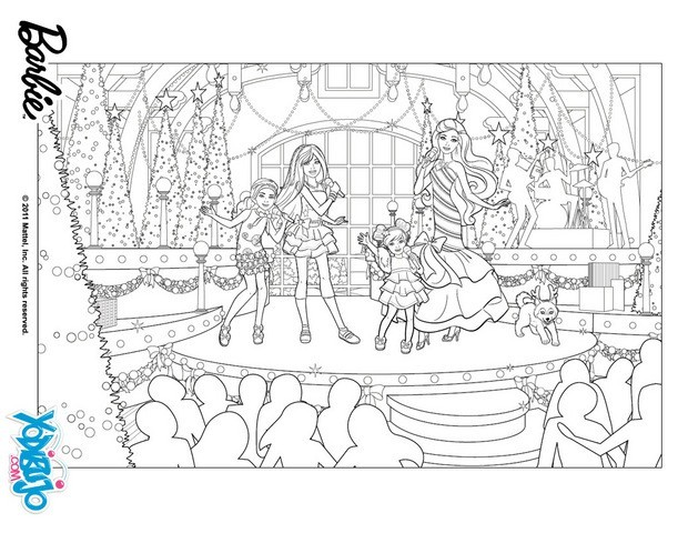 Dibujos para colorear show navideño de barbie - es.hellokids.com