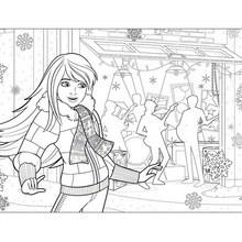 Dibujo BARBIE en Navidad para colorear en línea