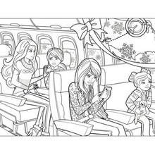 Dibujo para colorear : BARBIE en el avión