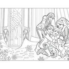 Dibujo para colorear : BARBIE en su fiesta navideña